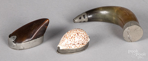 Two pewter mounted horn snuff mulls