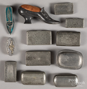 Collection of pewter snuff and patch boxes