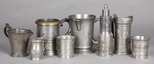 English and Continental pewter measures, etc.