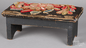 Painted pine footstool, 19th c.