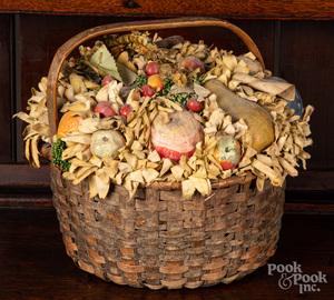 Split oak basket with composition fruit