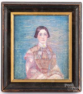 Oil on canvasboard portrait of a woman