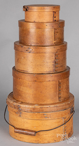 Stack of five bentwood boxes, 19th c.