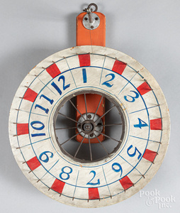 Two painted gaming wheels, mid 20th c.