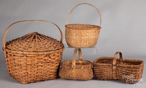 Four split oak baskets