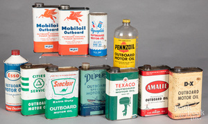 Group of outboard motor oil cans/bottles