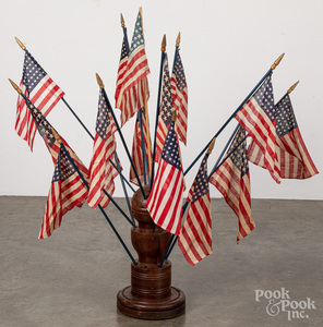 Turned American flag display stand