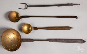 Three wrought iron ladles, 19th c.