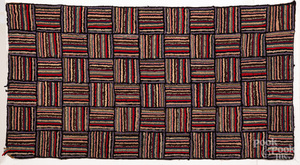 Geometric hooked rug, early 20th c.