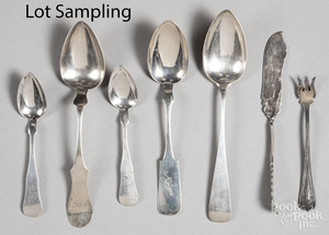 Silver and plate, to include coin spoons.