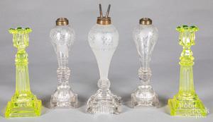 Pair of vaseline glass candlesticks