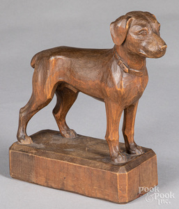 Woodenware, to include a carved dog