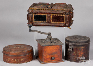 Tramp art dresser box, together with two tins, et