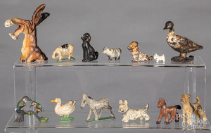 Group of small cast iron and spelter animals