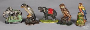 Four cast iron animal doorstops