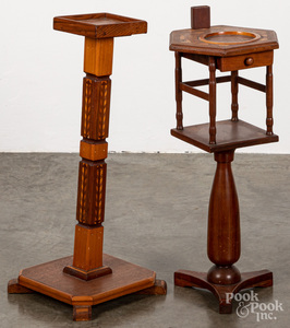 Two parquetry smoking stands