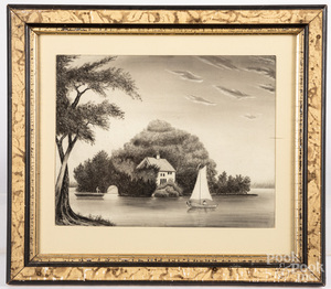 Sandpaper landscape, 19th c.