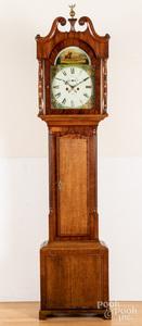 English oak and mahogany tall case clock