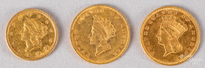 Three one dollar gold coins, etc.