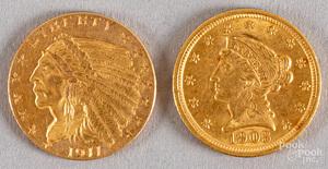 Two quarter eagle gold coins, etc.