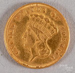 1878 three dollar Indian Princess gold coin.