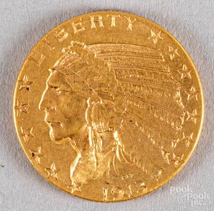 1913 five dollar Indian Head gold half eagle coin