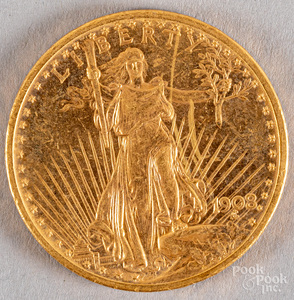 1908 twenty dollar St. Gaudens gold coin