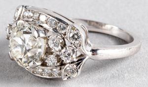 14K white gold ring with center diamond