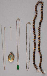 Tiger's eye necklace, etc.