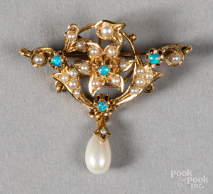 18K gold, pearl and opal brooch