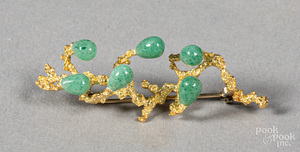 Italian 18K gold and jade brooch