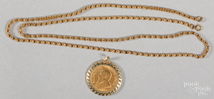 Gold Krugerrand, .5 ozt., mounted in a 9K pendant