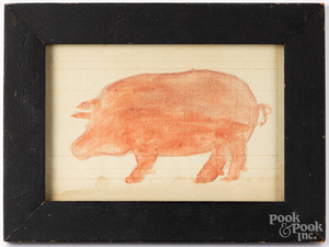 Watercolor drawing of a pig,