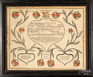 Jacob Stover printed and hand colored fraktur