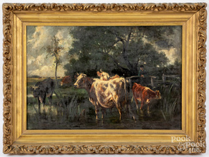 Oil on canvas landscape with cows