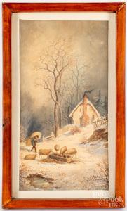 Julius Augustus Beck two watercolor landscapes