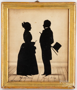 Watercolor silhouette of Martha and Zachary Child