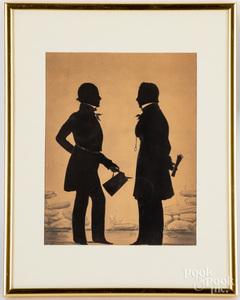 Watercolor silhouette of two gentlemen