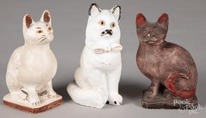 Three Pennsylvania chalkware cats