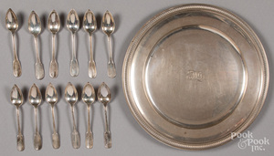 Twelve French silver grapefruit spoons