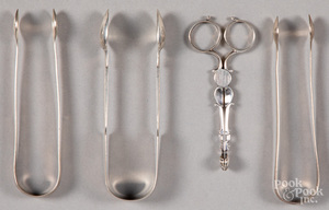 Georgian silver scissor tongs