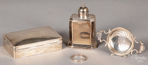 Georgian silver tea caddy, dresser box, etc.