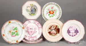 Seven Staffordshire plates, etc.