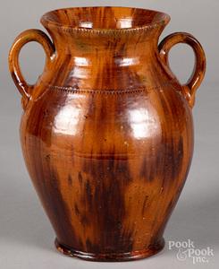 Jacob Medinger redware two-handled urn