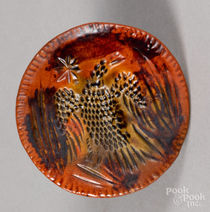 Redware butterprint, with eagle