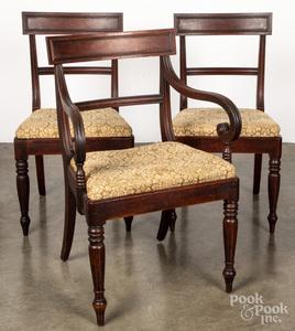Set of six Sheraton mahogany dining chairs