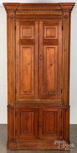 English pine two-part corner cupboard