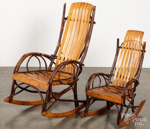 Two Adirondack rocking chairs