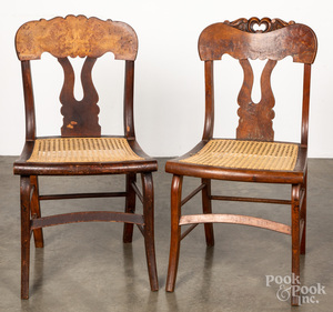 Pair of maple sabre leg dining chairs