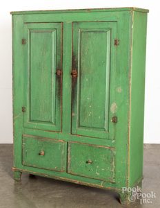 Painted pine cupboard, 19th c.